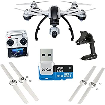 Yuneec Q500+ Typhoon Quadcopter with Aluminum Case, Free 32 GB Micro SD Card and Handheld CGO SteadyGrip Gimbal. Extra Battery and Extra Propellers Included.