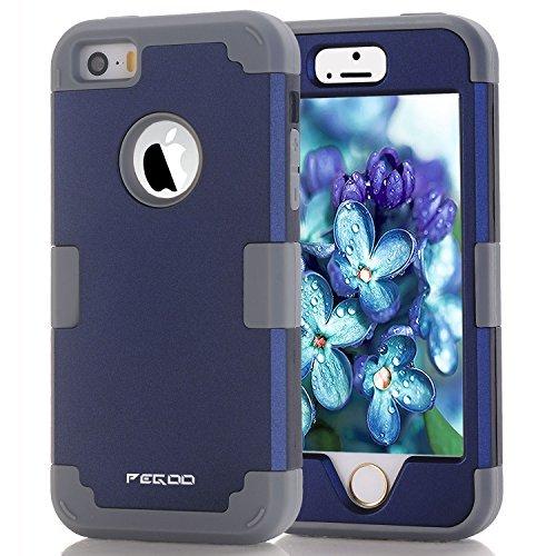 Pegoo - Carcasa híbrida de Triple Capa para iPhone 5, 5S y SE, 5G, Azul Marino Gris