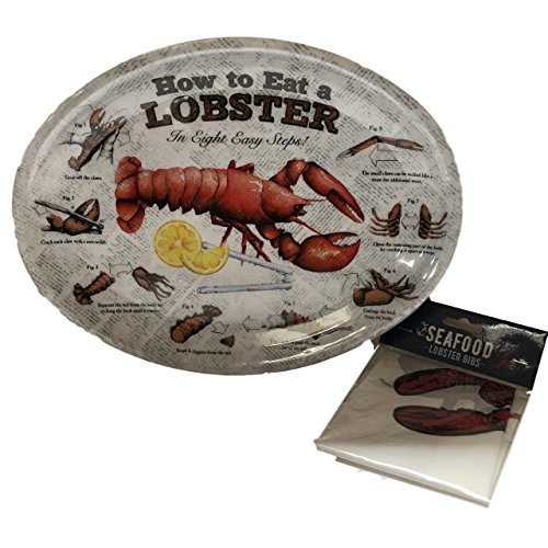 How to Eat a Lobster Melamine Lobster Plate and Lobster Bib Set of 4