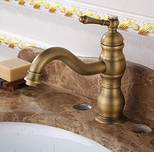 ROKTONG Faucet Full Copper Antique Faucet Black Ancient Drawing Hot And Cold Faucet Kitchen Above Counter Basin Faucet