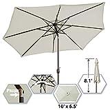 BenefitUSA 10' x 6.5' Oval Umbrella Garden Patio Parasol with Tilt Sunshade Market
