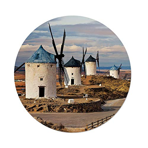Polyester Round Tablecloth,Windmill Decor,Medieval Spain Windmills in Consuegra Old Historical Landmark Decorative,Blue White Light Brown,Dining Room Kitchen Picnic Table Cloth Cover,for Outdoor Indo by iPrint