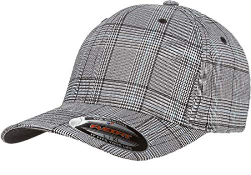Cap Ball Plaid (Flexfit Glen Check Plaid Hat | Stretch Fit, Curved Visor, Original Ballcap (Small/Medium -Black/White))