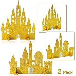 2 Pieces Gold Castle Table Centerpiece Glitter Princess Castle Centerpiece Decorations for Princess Birthday Baby Shower Party Table Decorations
