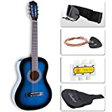 LAGRIMA 38'' Beginners Acoustic Guitar with Guitar Case, Strap, Tuner & Pick Steel Strings Blue