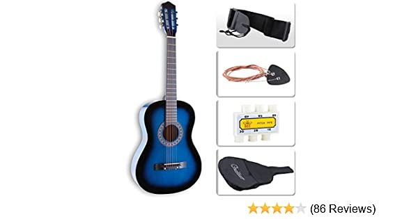 Amazon LAGRIMA Acoustic Guitar Beginners With Case Strap Tuner Pick Steel Strings Blue Musical Instruments