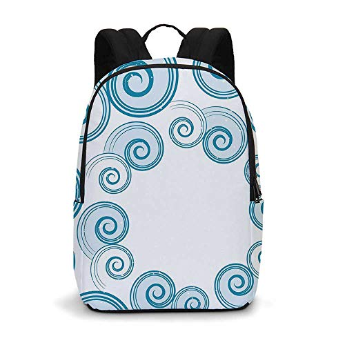 Teal and White Modern simple Backpack,Ocean Waves Inspired Design with Abstract Blue Swirls Water Sea Spirals Decorative for school,11.8