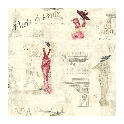 York Wallcoverings Europa II Weekend In Paris Prepasted Wallpaper, Cream/Cranberry/Grey/Tan - Wallpaper Cream Double Roll