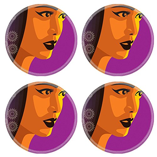 Liili Round Coasters Non-Slip Natural Rubber Desk Pads IMAGE ID: 16225663 beautiful girl with gear graphic hair