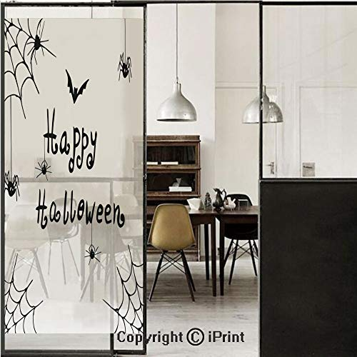 (Spider Web 3D Decorative Film Privacy Window Film No Glue,Frosted Film Decorative,Happy Halloween Celebration Monochrome Hand Drawn Style Creepy Doodle Artwork,for Home&Office,23.6x70.8Inch Black)