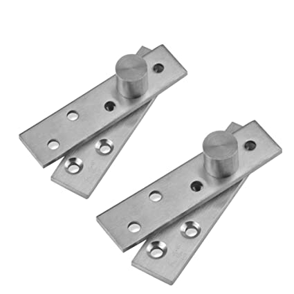 Alise 2 Pcs 4-Inch Length 360 Degree Offset-Axes Rotation Hidden Door Pivot Hinge,JL5100P-2P Stainless Steel Brushed Nickel