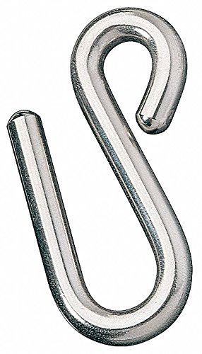 1-3/4'' x 1-1/2'' 316 Stainless Steel S Hook with 225 lb. Working Load Limit; PK1 - pack of 5