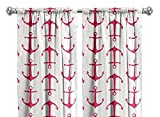 Pair of rod curtains 50'' wide panels anchors candy pink white window treatment nursery cotton drapes 84 96 108