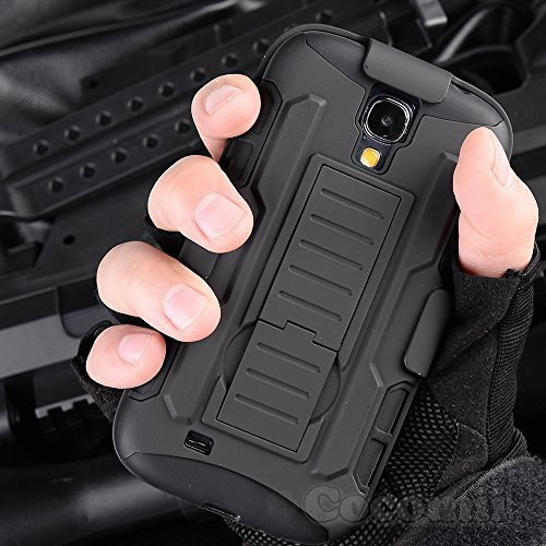 Cocomii Robot Armor Galaxy S4 Mini Case New [Heavy Duty] Premium Belt Clip Holster Kickstand Shockproof Bumper [Military Defender] Full Body Rugged Cover for Samsung Galaxy S4 Mini (R.Black)