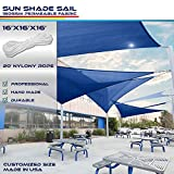 Windscreen4less 16' x 16' x 16' Sun Shade Sail Canopy in Ice Blue with Commercial Grade (3 Year Warranty) Customized Sizes Available