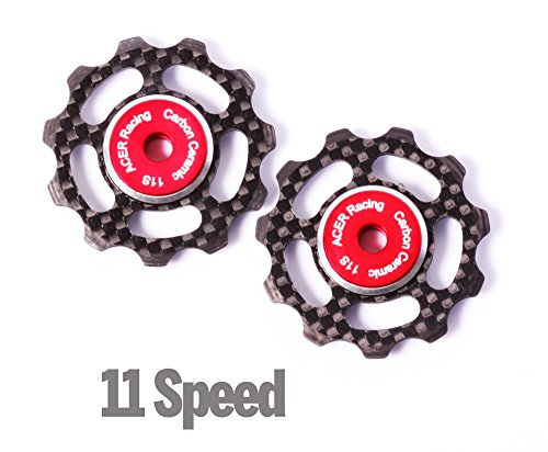 Carbon Fiber Jockey Wheels with Ceramic Bearings for 11 speed Derailleurs