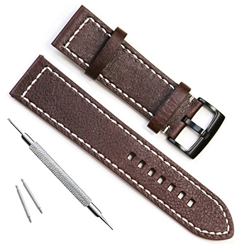 - Handmade Vintage Replacement Leather Watch Strap/Watch Band (23mm, Black Buckle/Coffee)