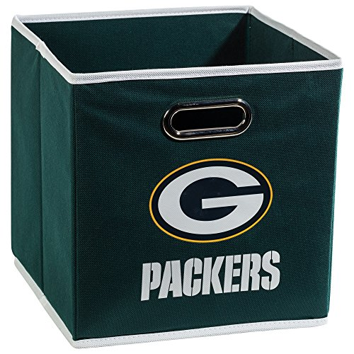 Franklin Sports NFL Green Bay Packers Fabric Storage Cubes - Made To Fit Storage Bin Organizers (11x10.5x10.5