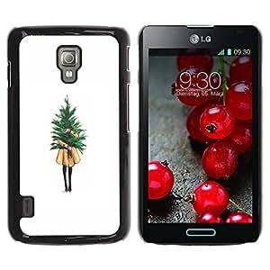 For LG Optimus L7 II P710 / L7X P714 Case , Winter White Christmas Tree Xmas - Diseño Patrón Teléfono Caso Cubierta Case Bumper Duro Protección Case Cover Funda