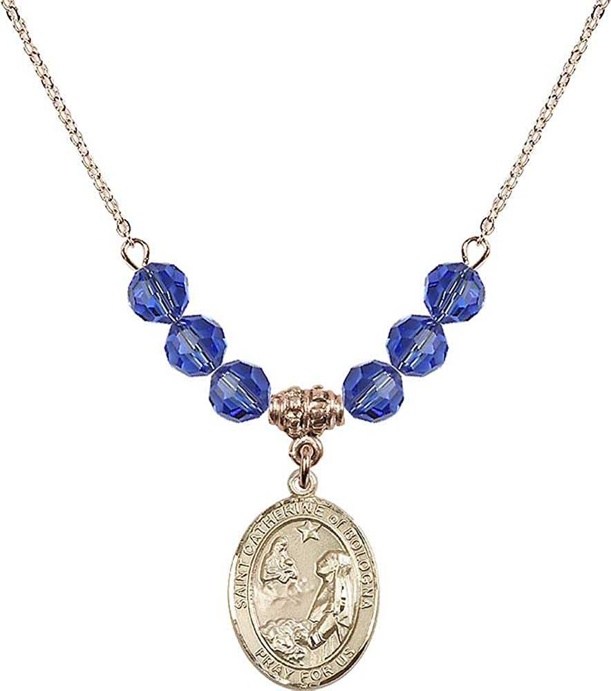 18-Inch Hamilton Gold Plated Necklace with 6mm Light Rose Birthstone Beads and Cross Charm.