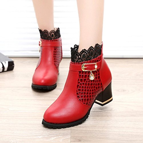 Platform Buckle Martin Shoes Women Brezeh Basso Boots Tacco Stivaletti Red Ladies Riding Aq4IxHn1x