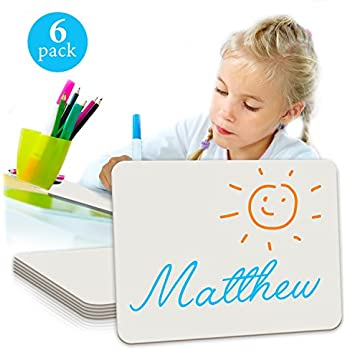 """6 Pack Dry Erase Lap Board 9""""X12""""   Interactive Learning Whiteboard   For Student and Classroom Use, Drawing Board , and College Board (Single Sided)"""