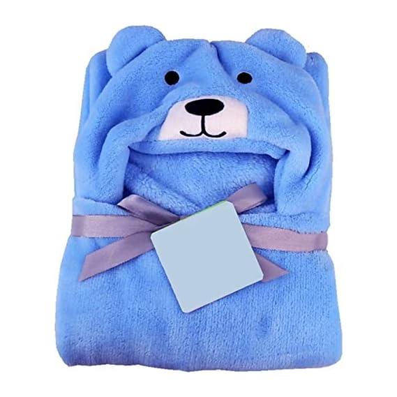 BRANDONN All in 1 Ultrasoft Luxury Dog Hooded Funny Caps Wrapper Baby Bath Towel (Blue)