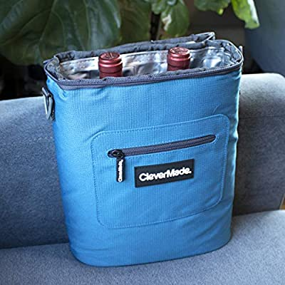 1fb8b58c6658 CleverMade Wine Bottle and 6 Pack Cooler Bag; Insulated Leakproof ...