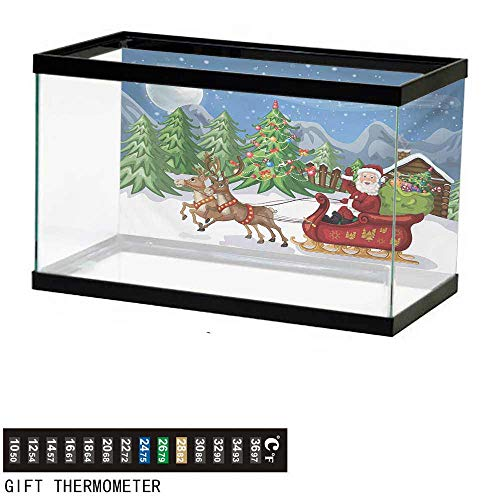 Aquarium Background,Christmas,Country Landscape at Night with Trees Santa Claus Snowdrift Reindeers Mountains,Multicolor Fish Tank Backdrop 36