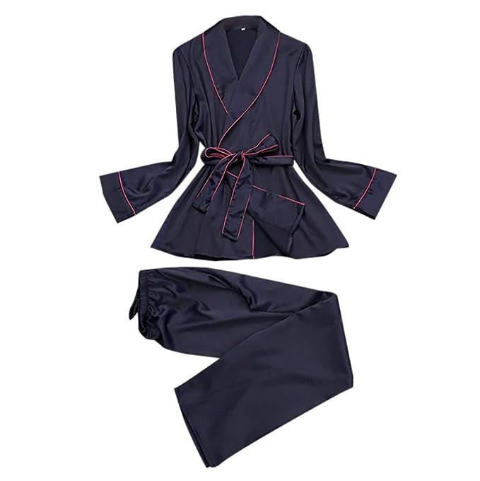 iCerber Conjunto De Pijamas De Satén para El Verano para Mujer,Camisa De Manga Larga
