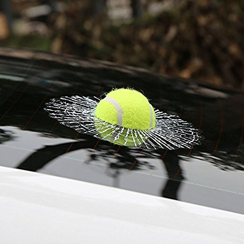 Teanfa 3D Prank Tricky Creative Glass Window Stickers Funny Auto Car Styling Ball Hits Car Body Window Sticker Self Adhesive Decal Accessories (Green Tennis)