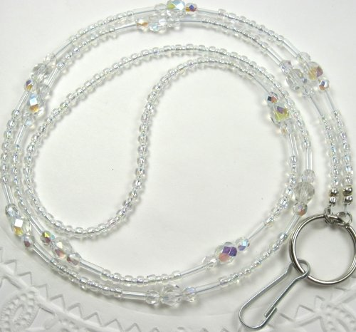 - Crystal Clear Glass Beaded Id Badge Holder Lanyard Necklace