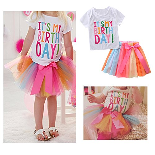 HBER 1-7T Baby Toddler Little Girls Birthday Clothes Letters T-Shirt + Colorful Rainbow Skirts Gift Outfits Set by HBER (Image #1)