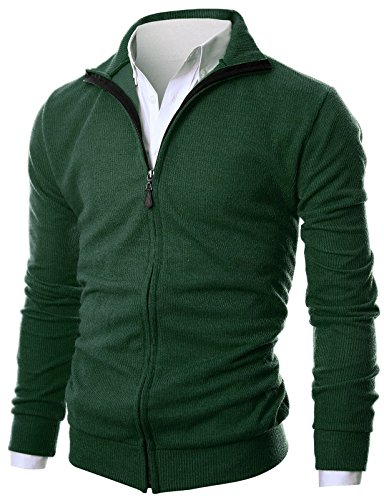 GIVON Mens Slim Fit Light Weight Full Zip Up Cardigan With Inside Soft Fabric/DCP047-DEEPGREEN-L by GIVON
