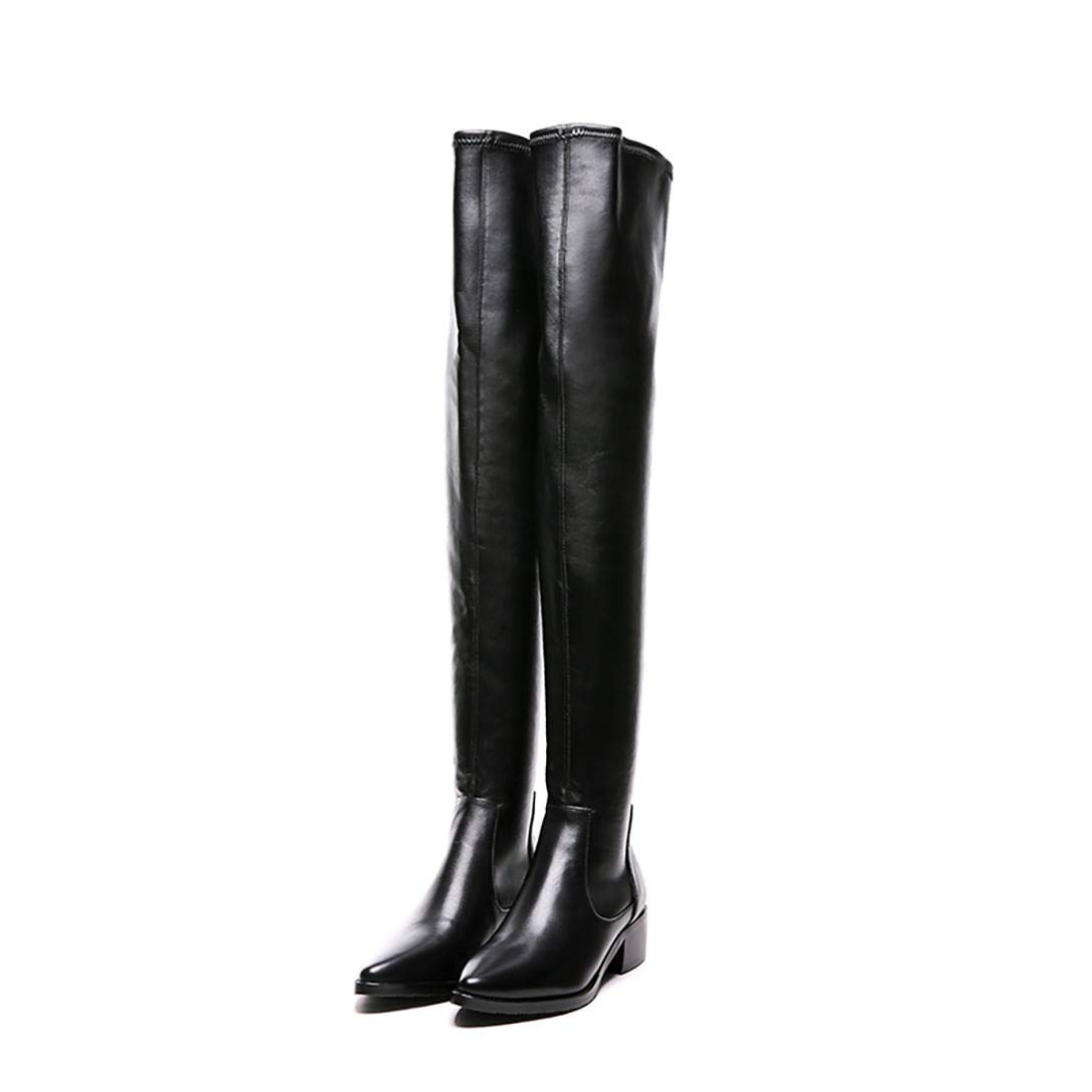 Black MAYPIE Womens ToanalyL Leather Slip-on Over-The-Knee Boots