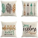 Qinqingo Inspirational Quote with Arrow Throw Pillow Covers Decorative Cotton Linen Cushion Cover Home Sofa Decor Pillowcases Set of 4 (IAFQ-4pcs)