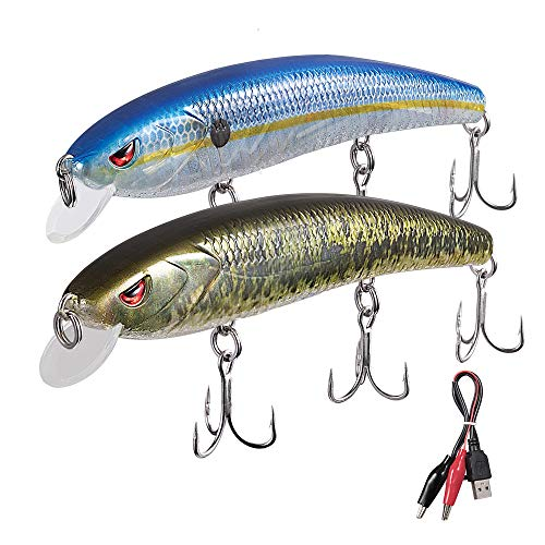 TRUSCEND Bass and Trout Fishing Lures,Twitching Lures Rechargeable USB Intelligent LED with Mustad Hooks Freshwater and Saltwater,Minnow Jerkbait Crankbait