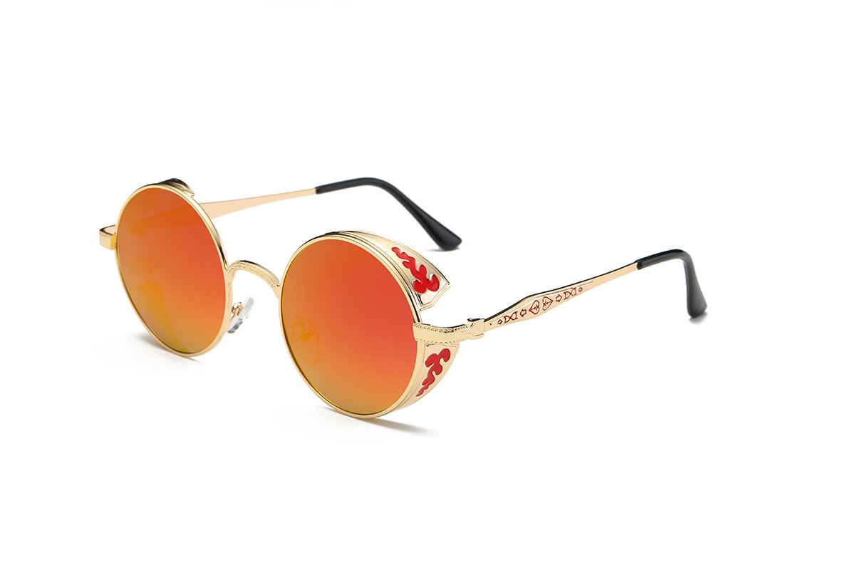 SZ·LINGKE Polarized Unisex Oversized Vintage Round SunGlasses For Men Women Driving Cycle Big Metal Frame Mirror Lens Retro Classical Hot Stlye SteamPunk Eye Glasses UV Protect Goggles(Golden & Red) by SZ·LINGKE (Image #2)