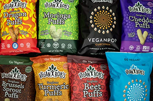 Vegan Rob's Puffs, Dairy Free Cheddar, 1.25 oz Snack Size Bags (12Count), Gluten Free Snack, Plant Based, Vegan, Zero Trans Fats, Non Gmo