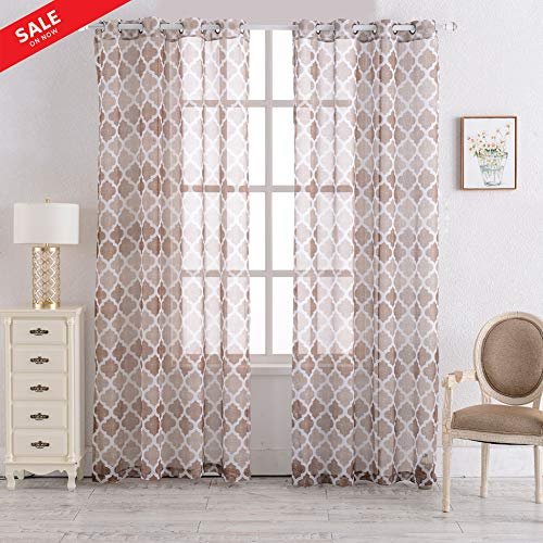 Printed Geometric Moroccan Sheer Curtain Linen Grommet Top Drapes for Living Room/Bedroom Multiple Color Contemporary Curtains 55