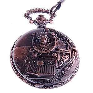 Reloj de Bolsillo de Cuarzo con Motivo Grabado de Ferrocarril, Números Arábigos y Cadena Total Hunter de Diseño Vintage PW-31