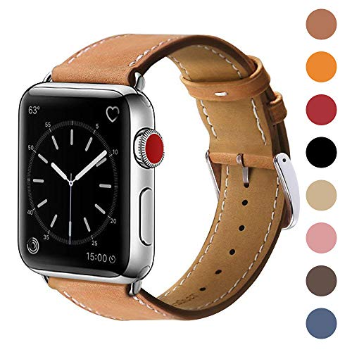MARGE PLUS Compatible with Apple Watch Band 42mm 44mm, Genuine Leather Replacement Band Compatible with Apple Watch Series 4 (44mm) Series 3 Series 2 Series 1 (42mm) Sport and Edition, Brown ()