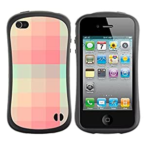 LASTONE PHONE CASE / Suave Silicona Caso Carcasa de Caucho Funda para Apple Iphone 4 / 4S / Teal Pink Skiing Pattern