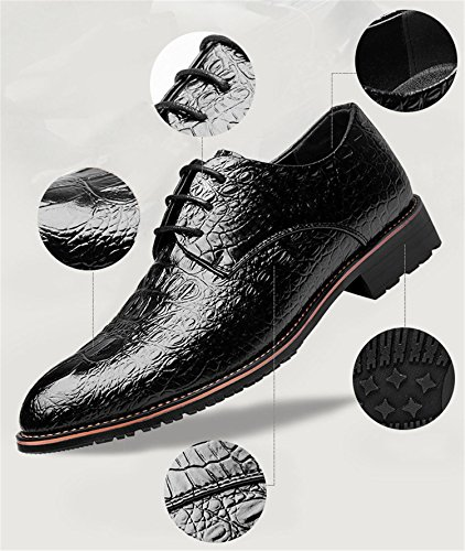 Rainstar Mens Coccodrillo Derby Brogue Scarpe A Punta Lace Up Dress Oxford Nero