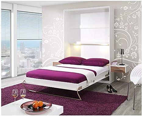 ELBM - Cama Plegable (140 x 200 cm, somier y colchón específico), Color Blanco