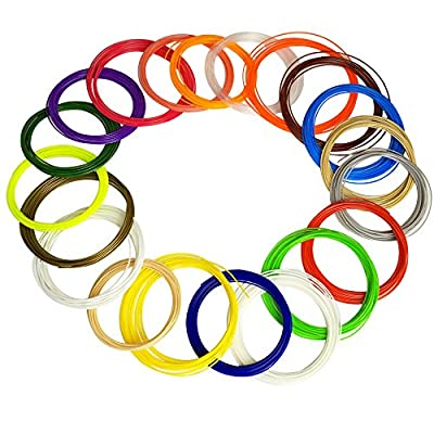 HUSOAR 3D Pen Filament Refills - 400 Linear Feet - 1.75mm ABS Pack of 20 Different Colors in 20 Foot Lengths