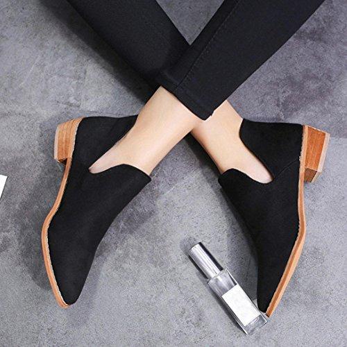 Fheaven Kvinner Damer Faux Solide Varme Støvler Ankelstøvletter Lave Side Sko Non-slip (oss: 6,5, Svart) Svart
