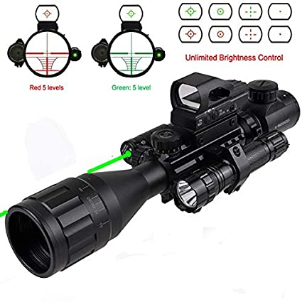 XOPin Rifle Scope Combo C4-16x50EG/12x50EG Dual Illuminated with Green Laser Sight 4 Holographic Reticle Red/Green Dot for Weaver/Rail Mount
