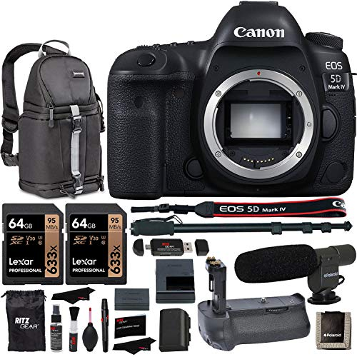 """Canon EOS 5D Mark IV DSLR Camera Body + Vivitar Camera Grip + 64GB Memory Card + Microphone + LED Video Light + 72"""" Monopod + SLR Backpack Accessory Bundle from Canon"""