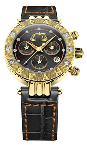 Seah Galaxy, Zodiac Sign Libra, 38mm Limited Edition, 18K Yellow Gold-tone, Swiss Made, Luxury Diamond Watch, Hersh Alligator band. Chronograph Orange Alligator
